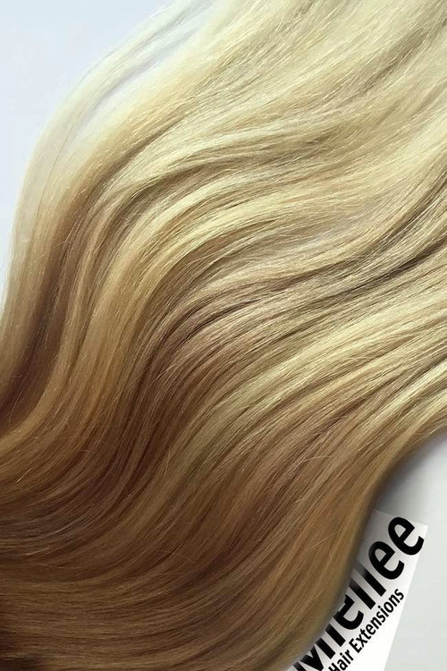 Medium Golden Blonde Balayage Machine Tied Wefts - Wavy Hair