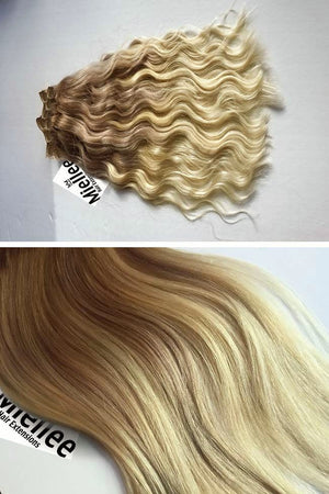 Medium Golden Blonde Balayage Clip Ins - Beach Wave - Remy Human Hair