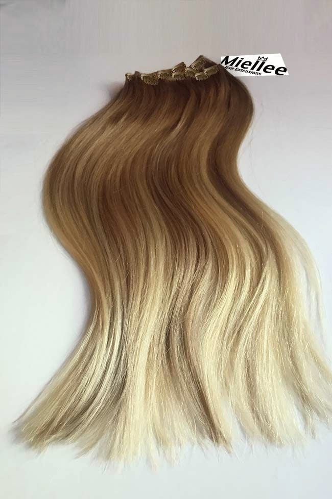Medium Golden Blonde Balayage Clip In Extensions Silky Straight