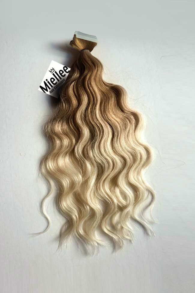 Medium Golden Blonde Balayage Tape Ins - Beach Wave - Remy Human Hair