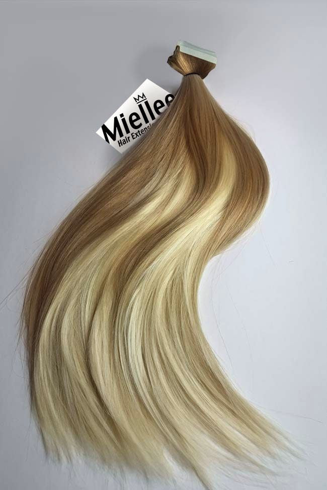 Medium Golden Blonde Balayage Tape Ins - Silky Straight - Remy Human Hair