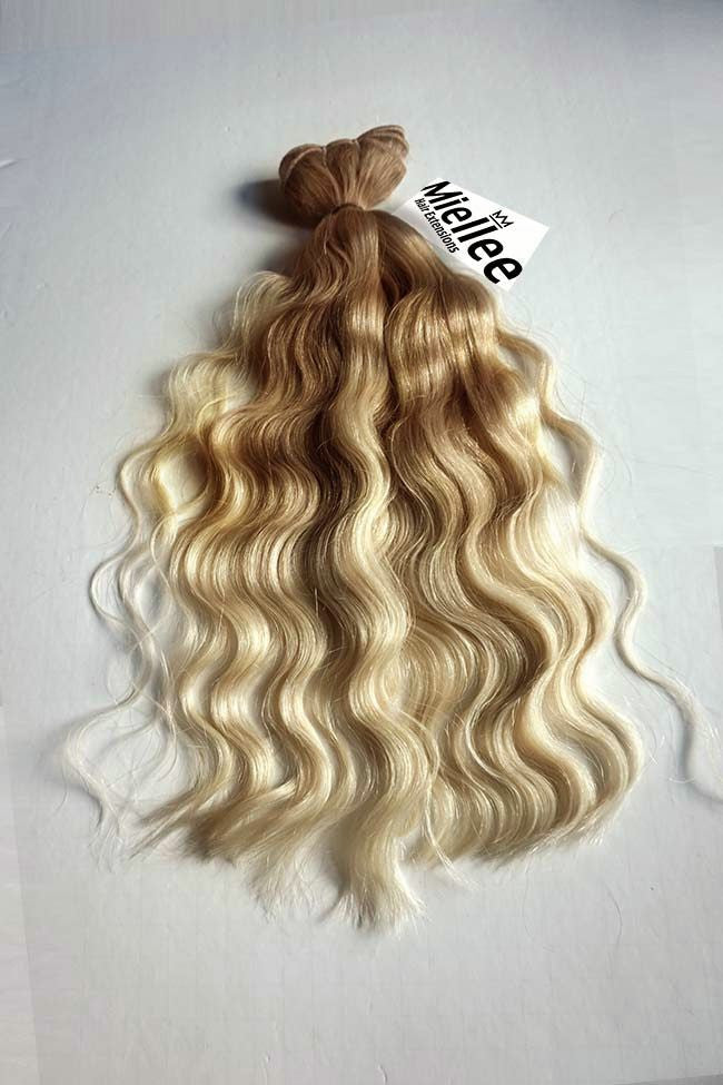 Medium Golden Blonde Balayage Weft Hair Extensions Remy Human Hair