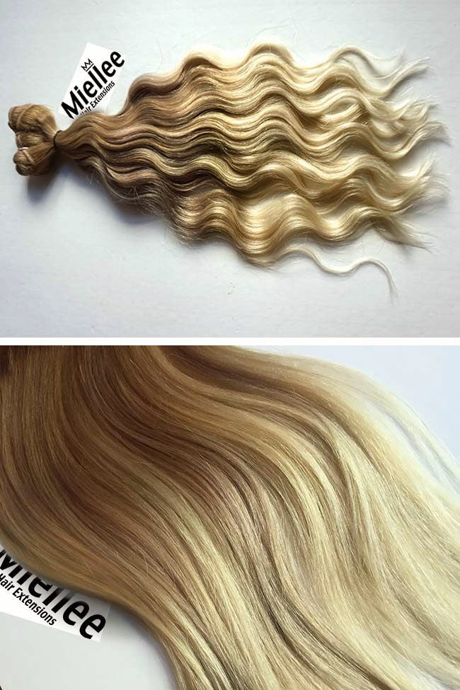 Medium Golden Blonde Balayage Weave Extensions | Beach Wave Remy Human Hair
