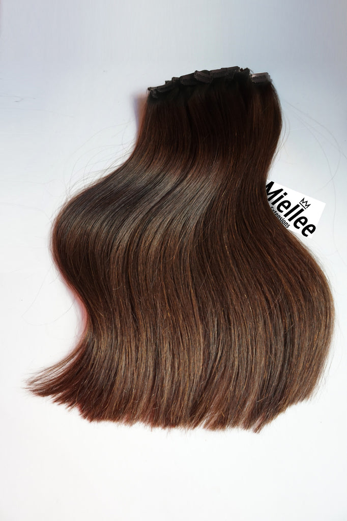 Dark Golden Brown Balayage Full Head Clip Ins | Silky Straight Remy Human Hair