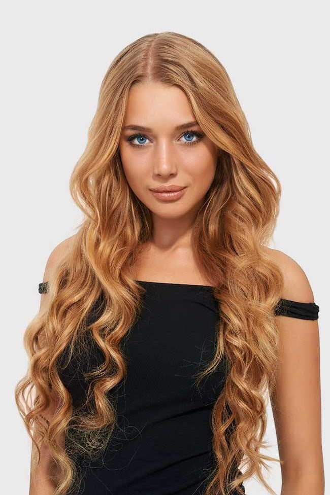 Strawberry Blonde Full Head Clip Ins | Beach Wave Remy Human Hair