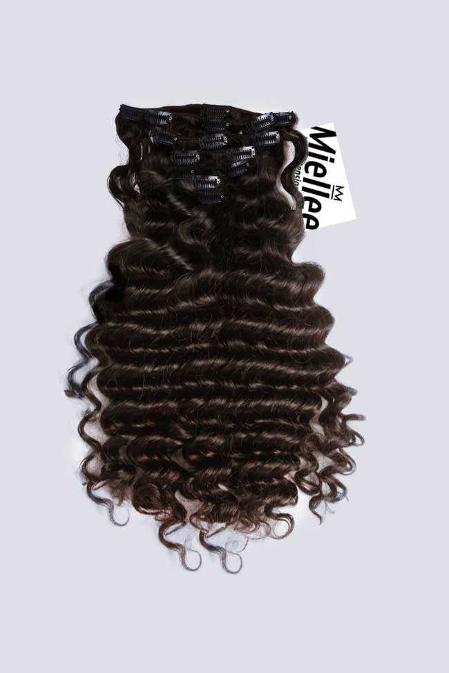 Natural Brown Full Head Clip Ins | Deep Curl Virgin Human Hair