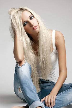 Frosty Blonde Clip Ins - Beach Wave - Remy Human Hair