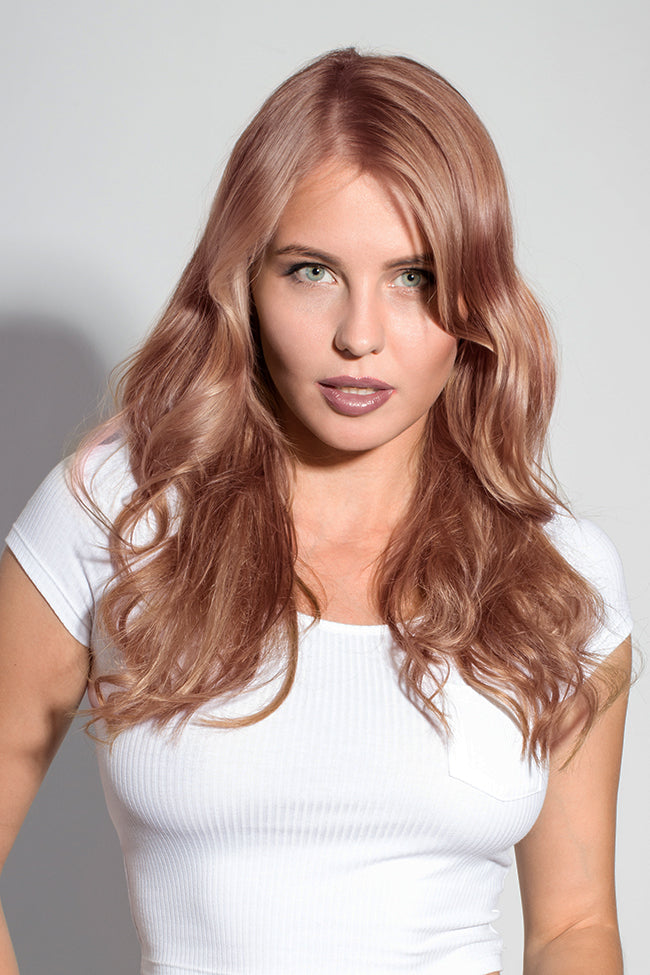 Rose Gold Machine Tied Wefts - Wavy Hair
