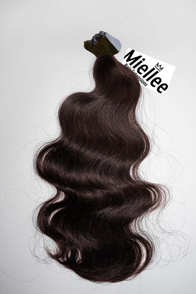 Mocha Brown Seamless Tape Ins - Wavy Hair