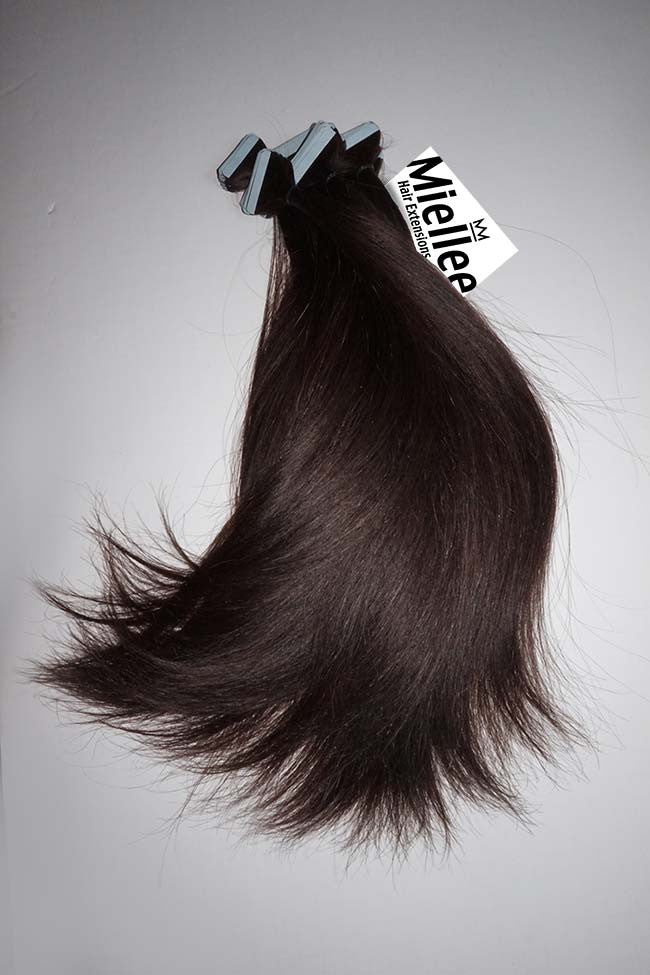 Mocha Brown Tape Ins - Silky Straight - Remy Human Hair