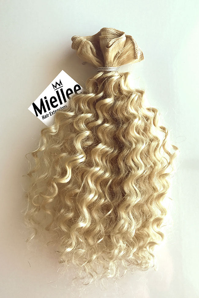 Virgin Blonde Machine Tied Wefts - Curly Hair