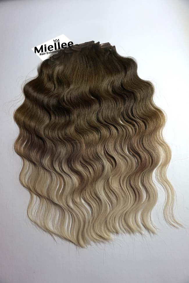 Light Ash Brown Balayage Clip Ins - Beach Wave - Remy Human Hair