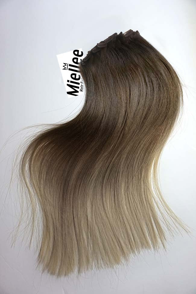Light Ash Brown Balayage Full Head Clips | Silky Straight Remy Human Hair