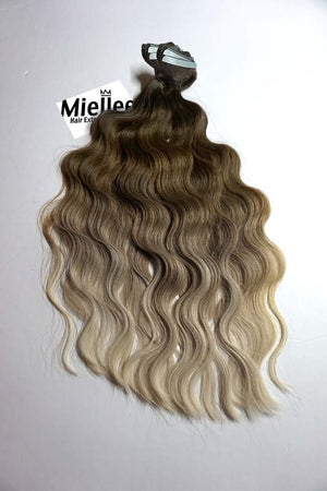 Light Ash Brown Balayage Tape Ins - Beach Wave - Remy Human Hair