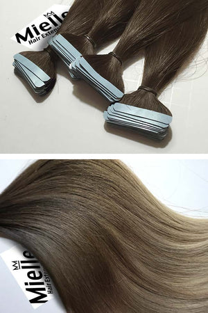 Light Ash Brown Balayage Tape Ins - Silky Straight - Remy Human Hair