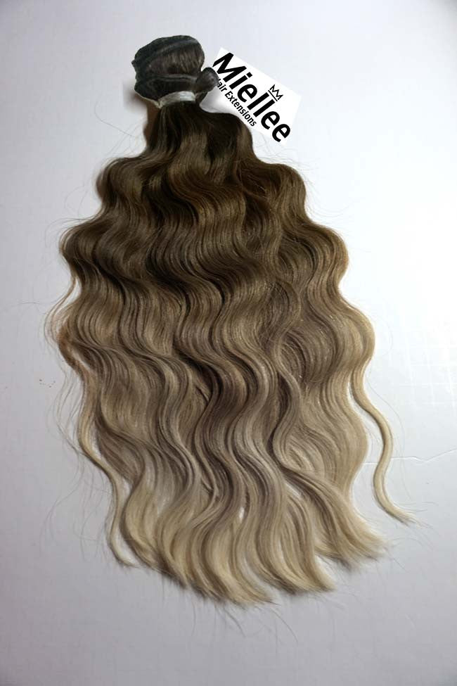 Light Ash Brown Balayage Weave - Beach Wave - Remy Human Hair