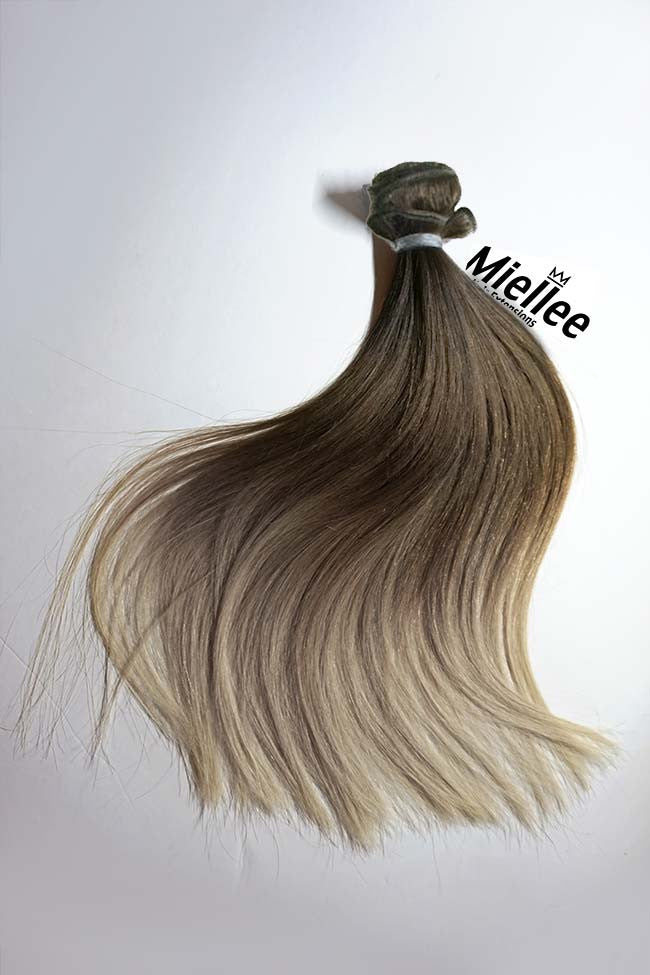Light Ash Brown Balayage Weave - Silky Straight - Remy Human Hair