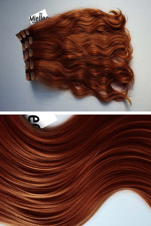 Copper Red Clip Ins - Beach Wave - Remy Human Hair