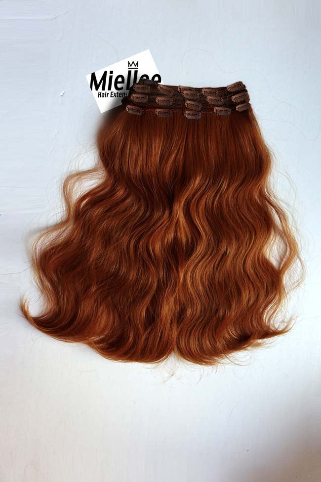 Clip in extensions light copper red silky straight human hair copper red full head clip ins beach wave remy human hair pmusecretfo Images