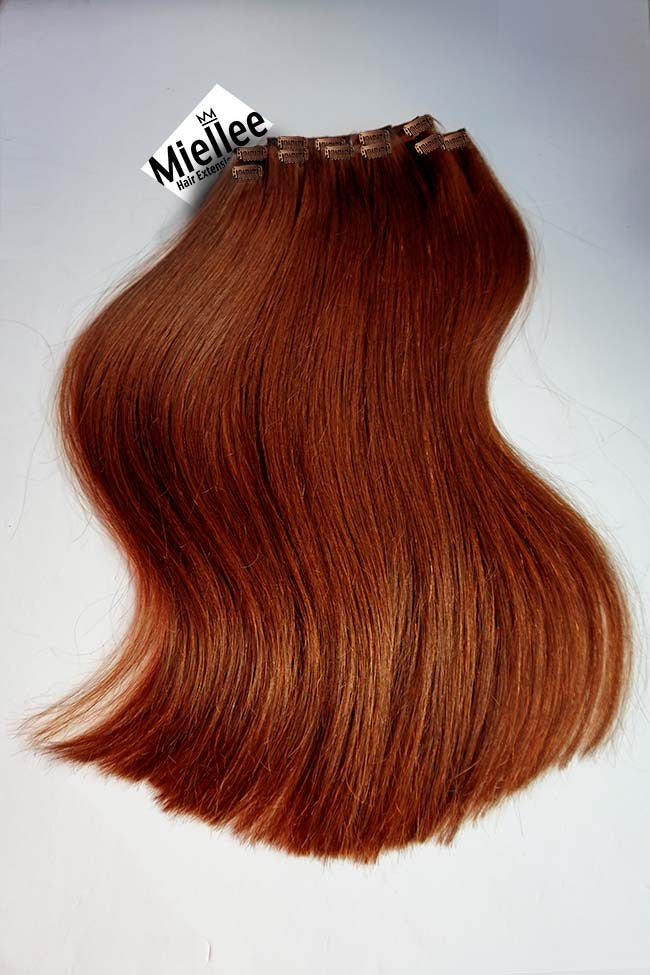 Clip In Extensions Light Copper Red Silky Straight Remy Human