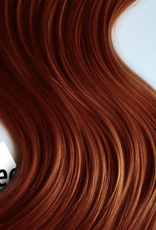 Copper Red Machine Tied Wefts - Straight Hair