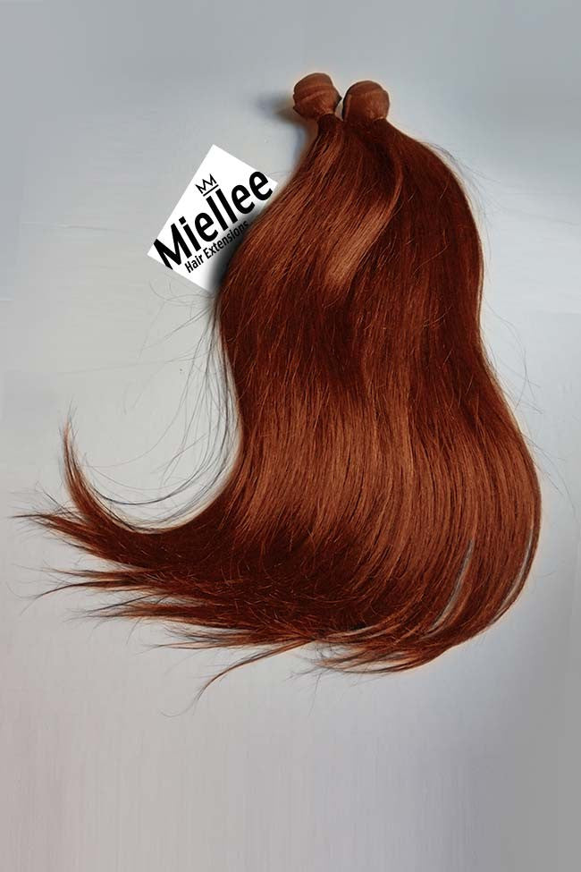Weaving Hair Extensions Light Copper Red Silky Straight Miellee