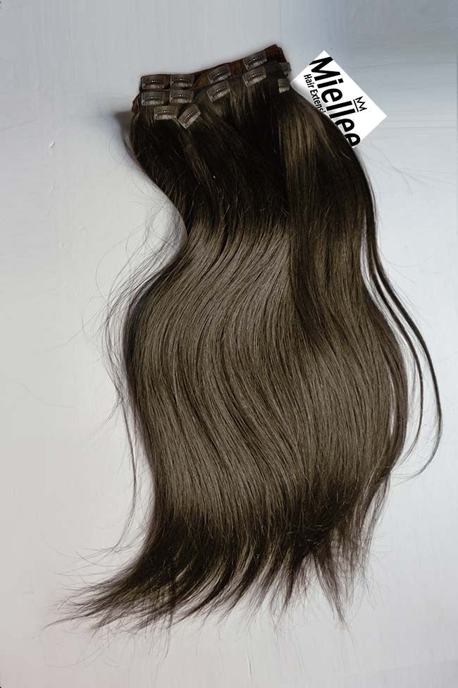 Grizzly Brown Full Head Clip Ins | Silky Straight Remy Human Hair
