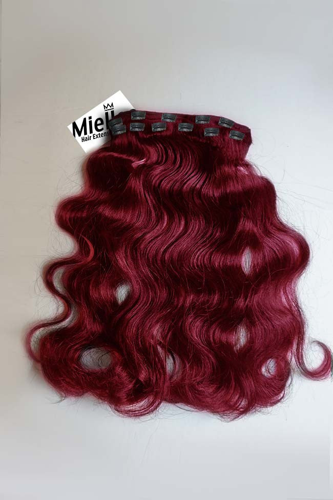 Raspberry Red Clip Ins - Beach Wave - Remy Human Hair