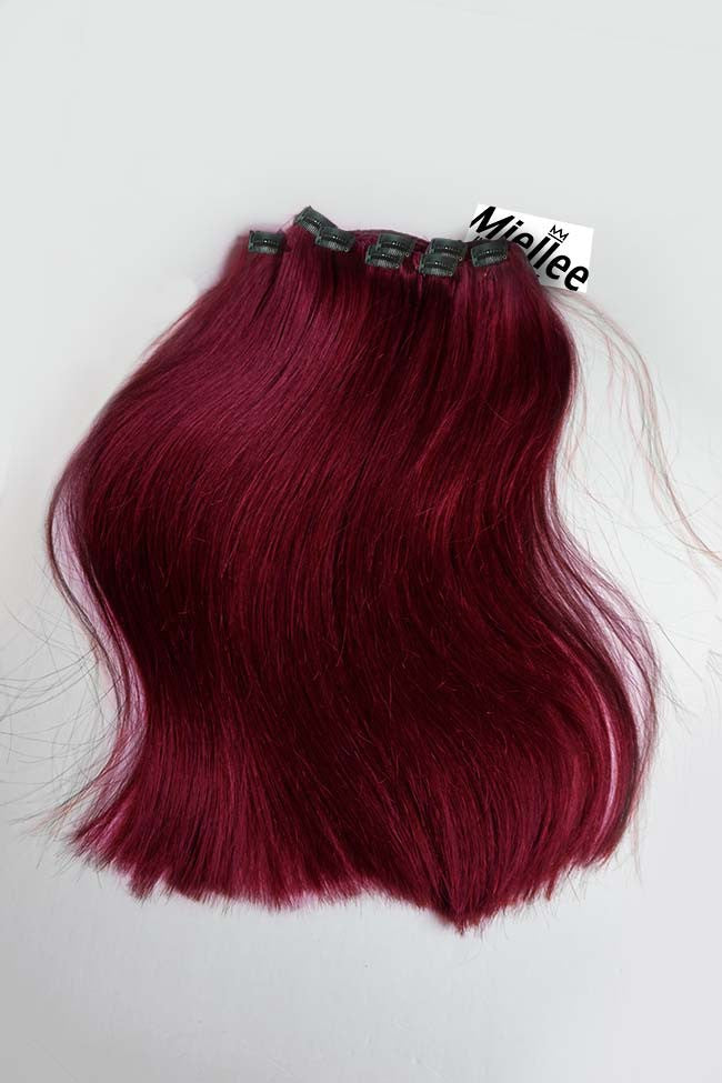 Raspberry Red Clip Ins - Silky Straight - Human Hair