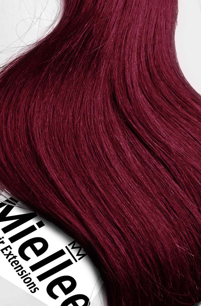 Raspberry Red Clip Ins - Wavy Hair