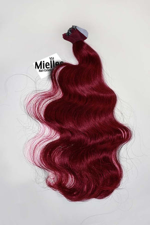 Raspberry Red Tape Ins - Beach Wave - Remy Human Hair