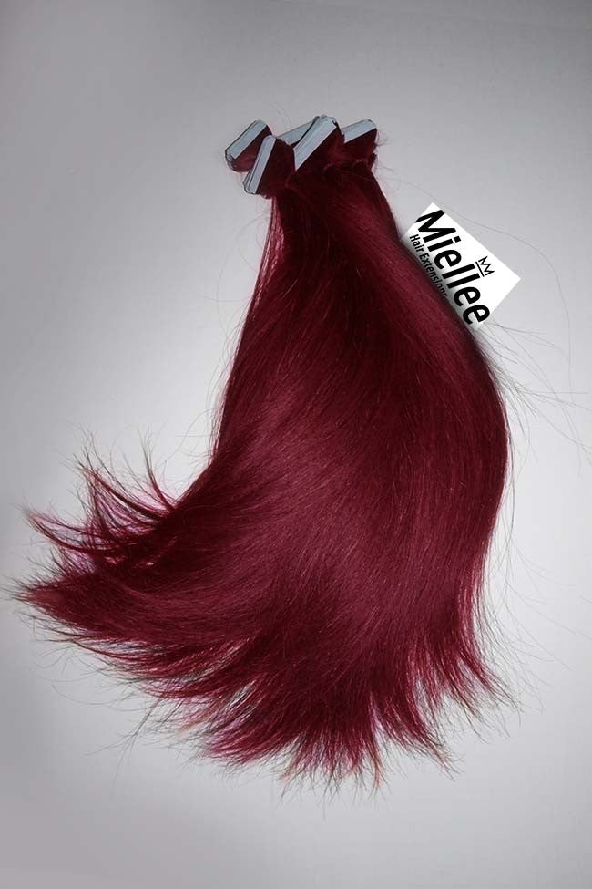 Raspberry Red Tape Ins - Silky Straight - Remy Human Hair