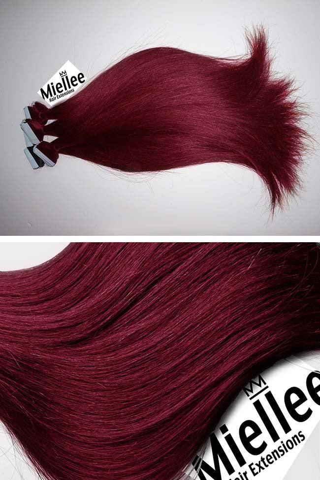 Raspberry Red Seamless Tape Ins | Silky Straight Remy Human Hair