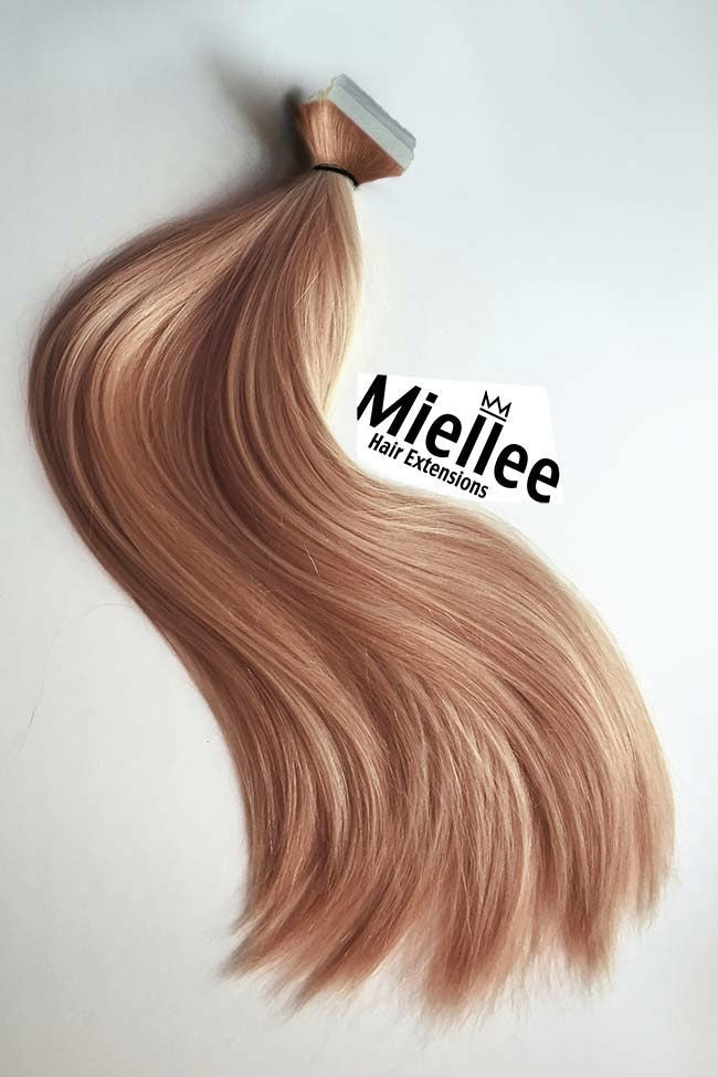 Metallic Rose Gold Tape In Extensions Silky Straight Remy Human