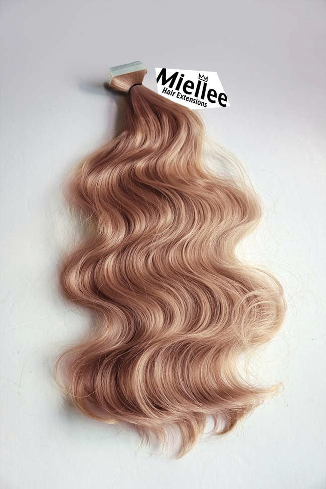 Rose Gold Seamless Tape In Extensions Wavy Human Hair Miellee Hair Company