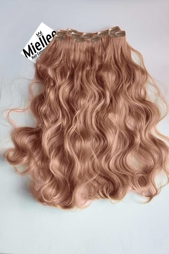 Rose Gold Full Head Clip Ins | Beach Wave Remy Human Hair
