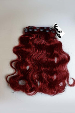 Ruby Red Clip Ins -  Beach Wave - Remy Human Hair