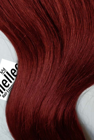 Ruby Red Seamless Tape Ins | Silky Straight Remy Human Hair