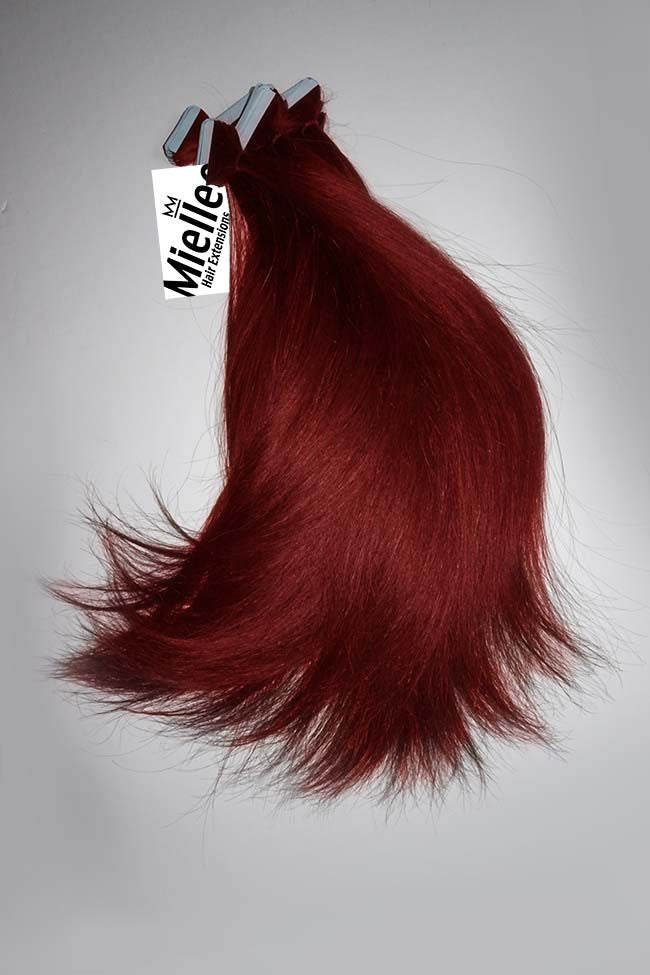 Dark Vibrant Ruby Red Tape In Extensions Straight Remy Human Hair