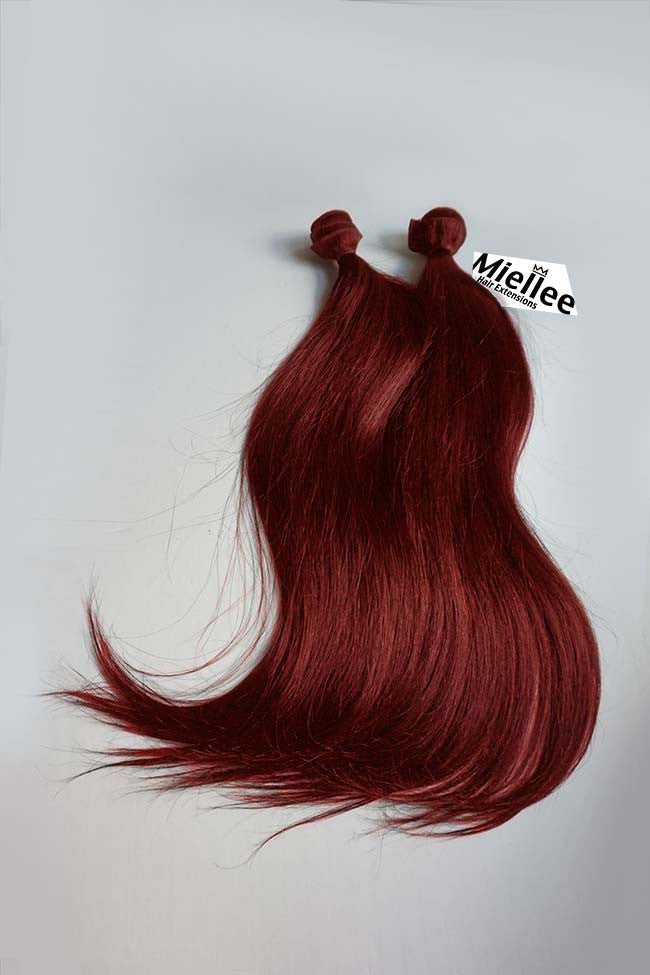 Vibrant Ruby Red Weave Extensions Silky Straight Remy Human Hair