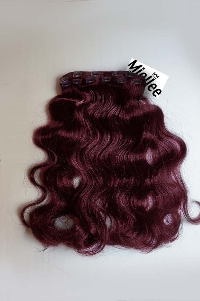 Sherry Red Full Head Clip Ins | Beach Wave Remy Human Hair