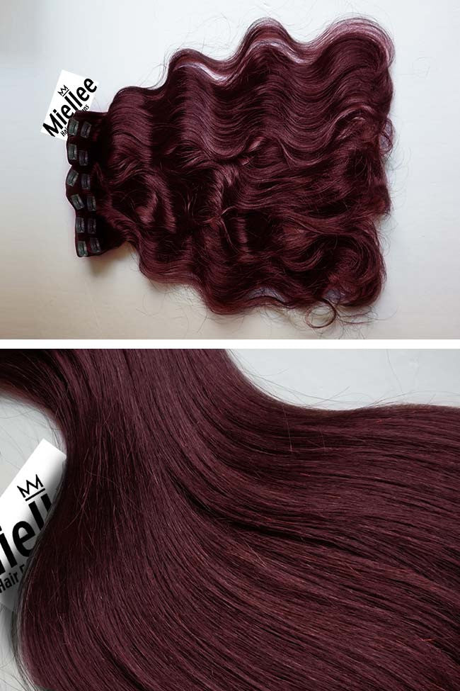 Sherry Red 8 Piece Clip Ins - Wavy Hair