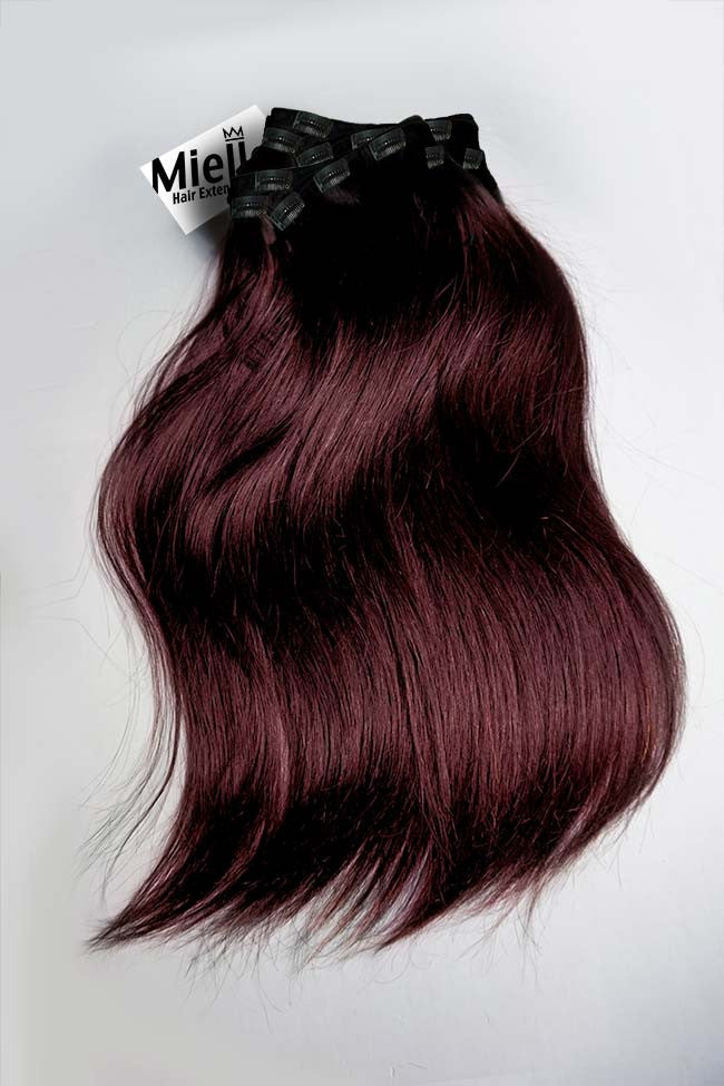 Dark Sherry Red Burgundy Clip In Extensions Straight Remy Human