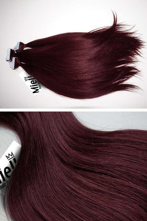 Sherry Red Tape Ins - Silky Straight - Remy Human Hair