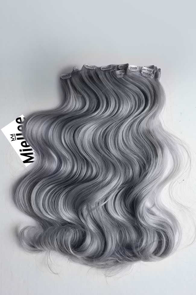 Steel Grey Clip Ins - Beach Wave - Remy Human Hair