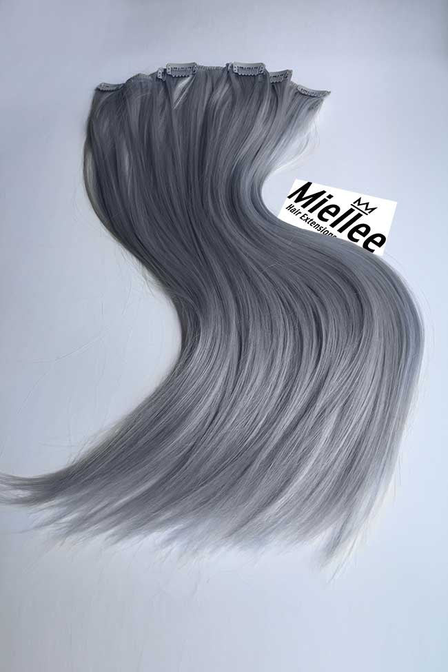 Steel Grey Clip Ins - Silky Straight - Remy Human Hair