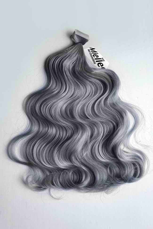Steel Grey Tape Ins - Wavy Hair