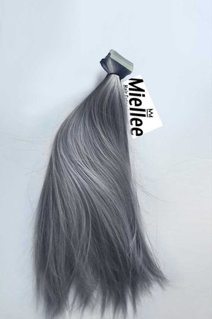 Steel Grey Tape Ins - Silky Straight - Remy Human Hair