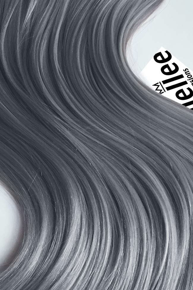 Steel Grey Full Head Clip Ins | Silky Straight Remy Human Hair