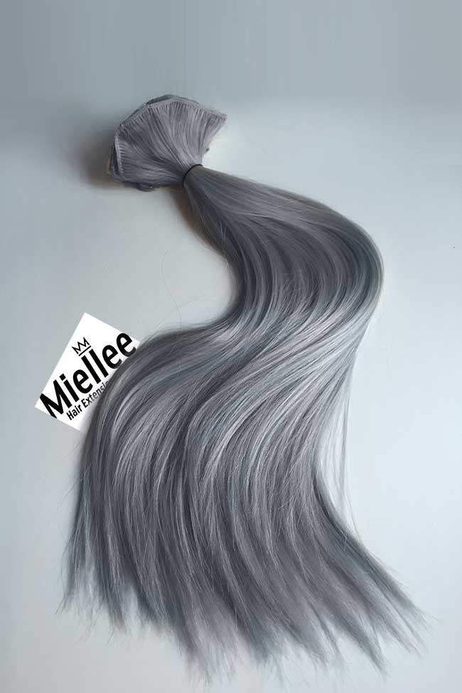 Metallic Steel Grey Weave Hair Extensions Straight Remy Human Hair